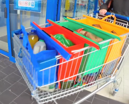 Re-useable Shopping Trolley Bags that make it easy to sort and transport your shopping when out buying your groceries.